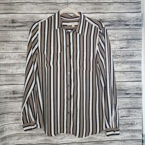 Ann Taylor Loft Stripe Button Up Blouse